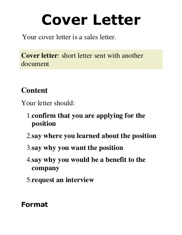 Awesome Cover Letter Your Cover Letter Is A Sales Letter. Cover Letter: Short Letter  Sent ...