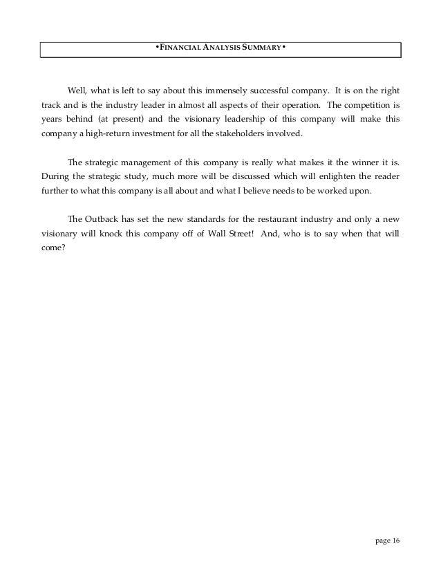 Outback Strategic Study Financial Analysis 1995