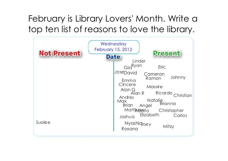 February is Library Lovers Month. Write atop ten list of reasons to love the library.                   Wednesday         ...