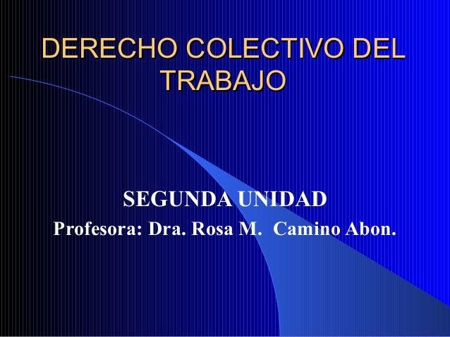 DERECHO COLECTIVO DELDERECHO COLECTIVO DEL TRABAJOTRABAJO SEGUNDA UNIDAD Profesora: Dra. Rosa M. Camino Abon.