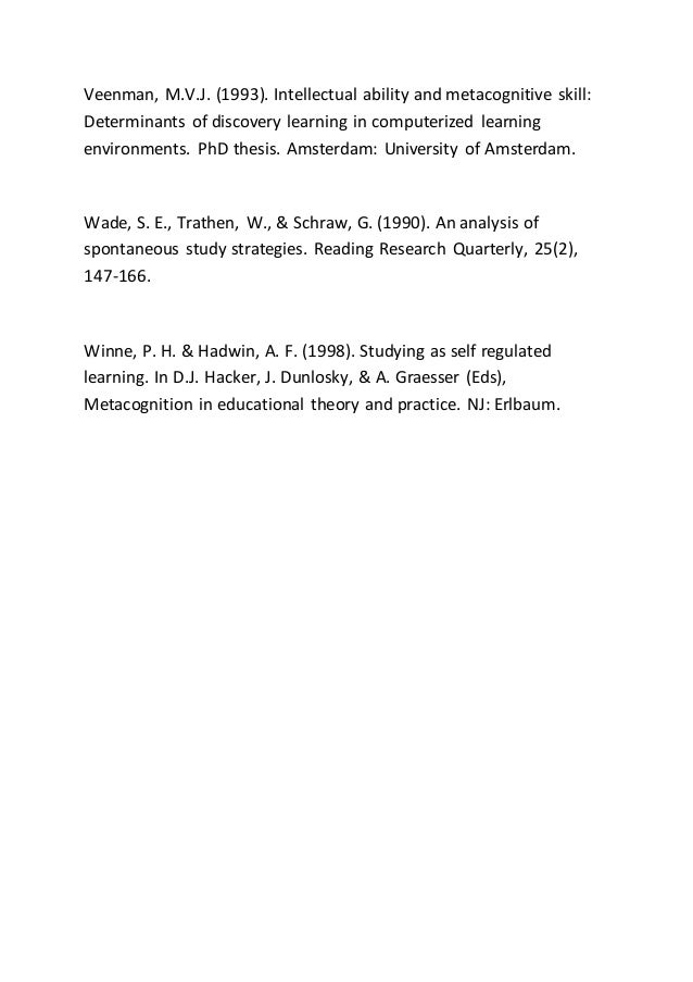 metacognition teaching thesis Metacognition research papers discuss the type of cognition defined as cognition about cognition  cognitive strategy instruction is an approach to teaching that .