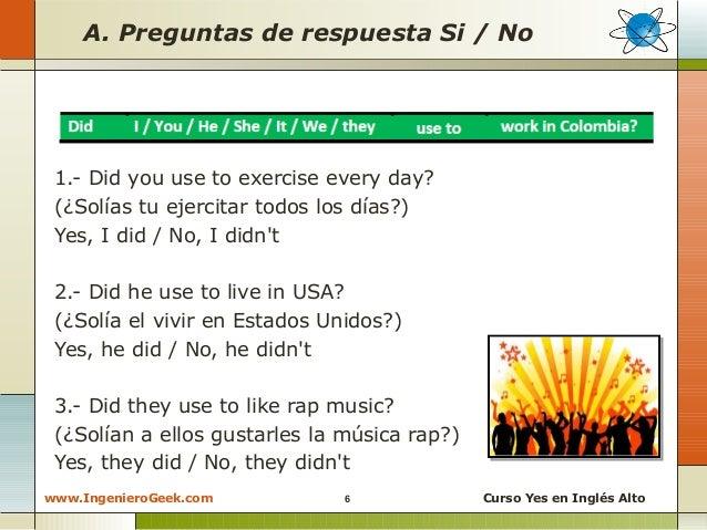 2 11 Oraciones Y Preguntas Con La Expresion Used To