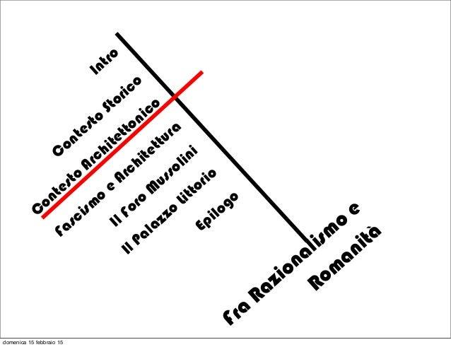 Fra Razionalism o e Rom anità Intro C ontesto Storico Fascism o e Architettura Il Foro M ussolini C ontesto Architettonico...