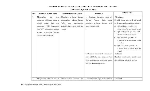 2 Kisi Kisi Ujian Praktik Usbn Pai Smp 2014 2015 Muhson