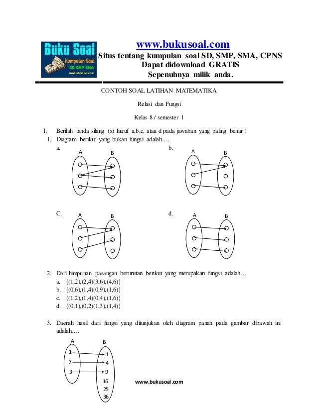 Contoh Soal Latihan Matematika Relasi Dan Fungsi Kelas 8 Smp