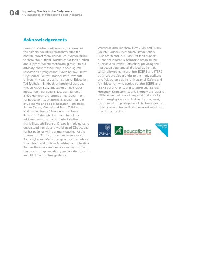 Improving quality in the early years report