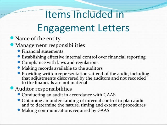 engagement letters optional items arrangements regarding conduct of ...