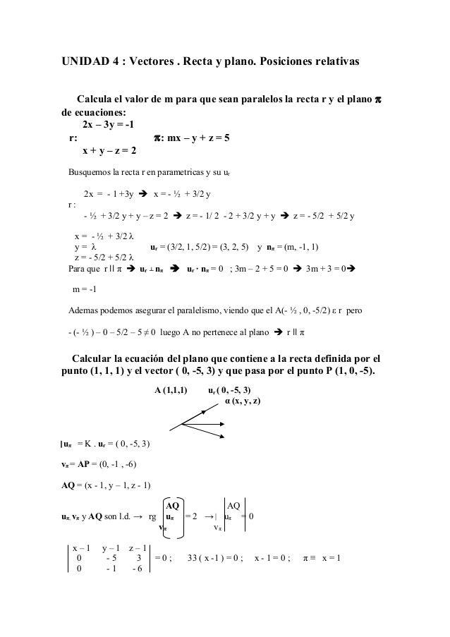 UNIDAD 4 : Vectores . Recta y plano. Posiciones relativas Calcula el valor de m para que sean paralelos la recta r y el pl...