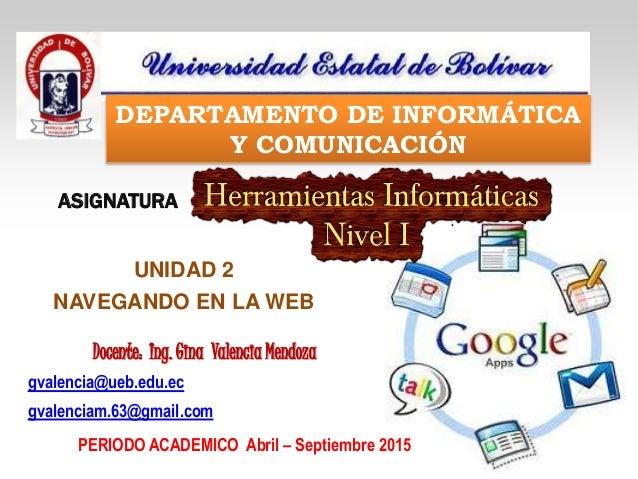 gvalencia@ueb.edu.ec gvalenciam.63@gmail.com ASIGNATURA Docente: Ing. Gina Valencia Mendoza DEPARTAMENTO DE INFORMÁTICA Y ...