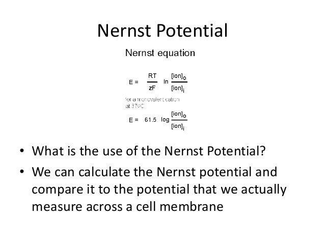 using the nernst equation