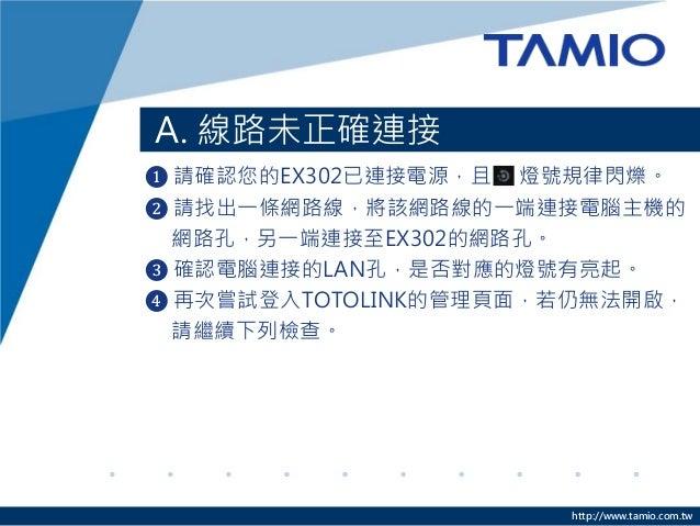 http://www.tamio.com.tw A. 線路未正確連接 ❶ 請確認您的EX302已連接電源,且 燈號規律閃爍。 ❷ 請找出一條網路線,將該網路線的一端連接電腦主機的 網路孔,另一端連接至EX302的網路孔。 ❸ 確認電腦連接的LA...