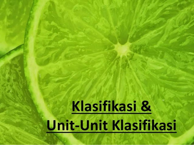 Klasifikasi & Unit-Unit Klasifikasi