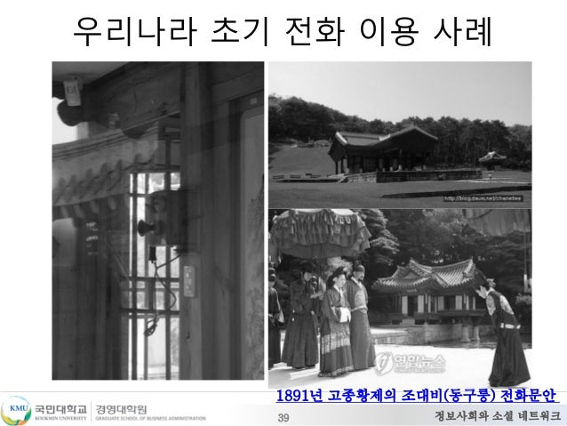 정보사회와 소셜 네트워크 우리나라 초기 전화 이용 사례 39 1891년 고종황제의 조대비(동구릉) 전화문안