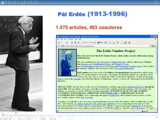 69 정보사회와 소셜 네트워크 1.475 artícles, 493 coautores Pá l Erdö s (1913-1996)