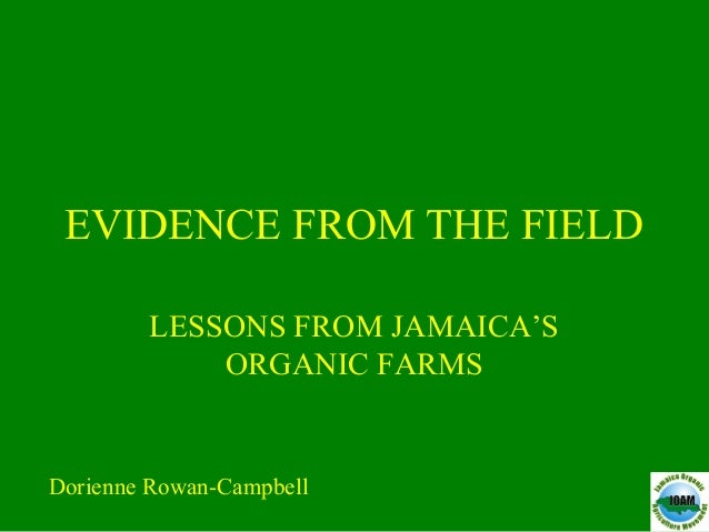 EVIDENCE FROM THE FIELD LESSONS FROM JAMAICA'S ORGANIC FARMS Dorienne Rowan-Campbell