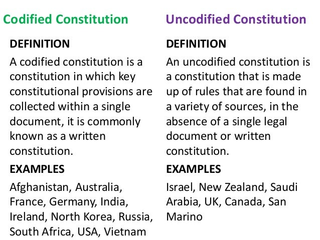 Compare and contrast written and unwritten constitutions. Which type of constitution do you favour?