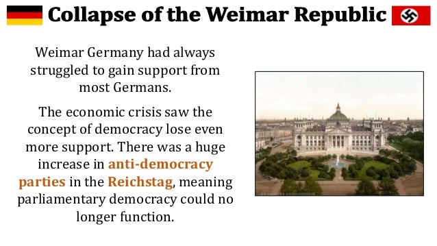 collapse of the weimar republic essay The weimar republic has long been synonymous in the public mind with political   an exemplar of failure against which the political and economic uncertainties of   other essays examine antisemitism within the paramilitary kampfverbände.