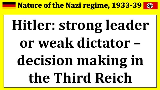 hitler leader or dictator essay What happened to allow hitler to become dictator of germany  citizens,  members of parliament, and other leaders contributed to hitler's rise to power.