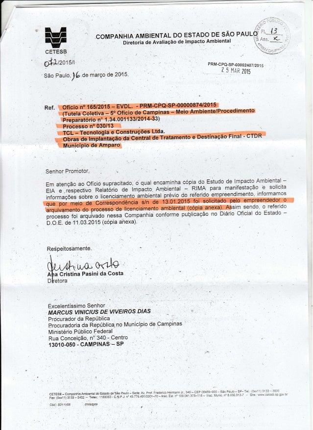 .COMPANHlA'AMB1ENTAL DO ESTAD/ OVDE s/ lo PAULO Diretoria de Avaliagéo deimpaoto Ambiental A'  cefess  9:19./2015/1  _ ' S...