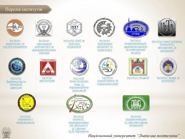 Інститут енергетики та систем керування Інститут прикладної математики та фундаментальних науктре Інститут хімії та хімічн...
