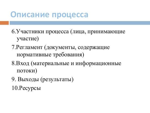 Описание процесса 6.Участники процесса (лица, принимающие участие) 7.Регламент (документы, содержащие нормативные требован...