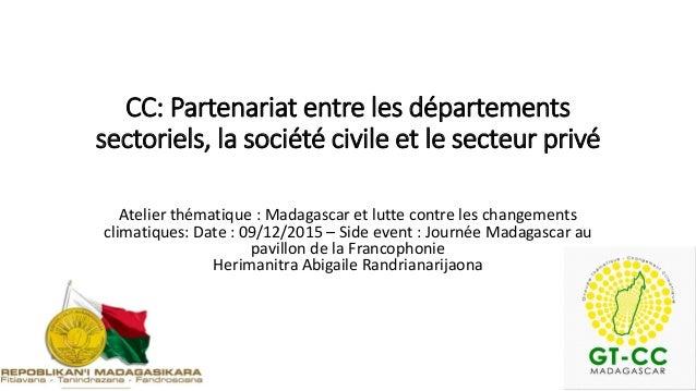 CC: Partenariat entre les départements sectoriels, la société civile et le secteur privé Atelier thématique : Madagascar e...