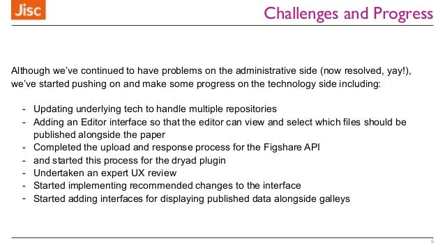 Challenges and Progress 6 Although we've continued to have problems on the administrative side (now resolved, yay!), we've...