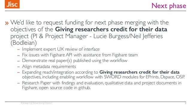 #dataspring: Streamlining Deposit Next phase » We'd like to request funding for next phase merging with the objectives of ...