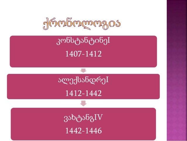 კონსტანტინეI 1407-1412 ალექსანდრეI 1412-1442 ვახტანგIV 1442-1446