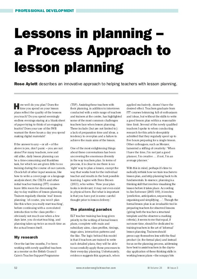 52 www.modernenglishteacher.com  n Volume 24 n Issue 3 PROFESSIONAL DEVELOPMENT How well do you plan? Does the time you ...