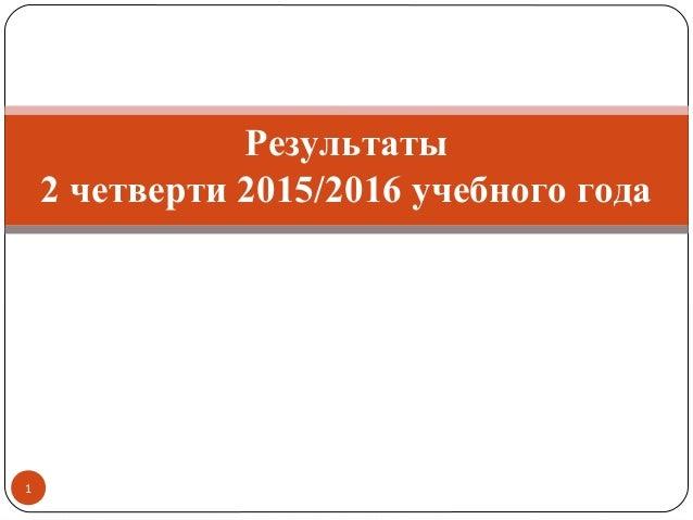 1 Результаты 2 четверти 2015/2016 учебного года