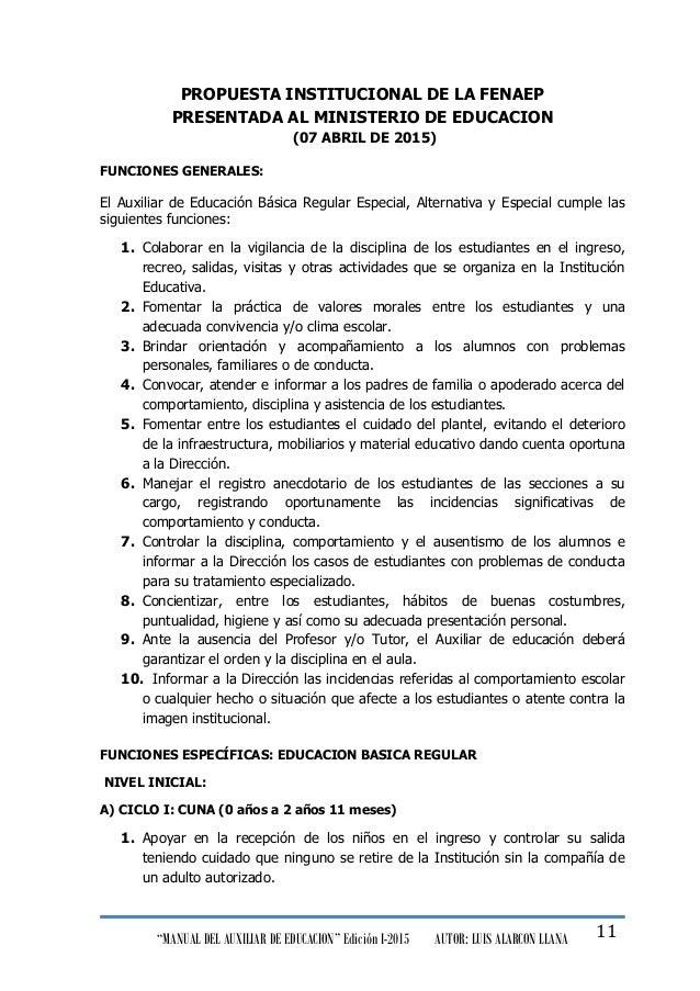 """""""MANUAL DEL AUXILIAR DE EDUCACION"""" Edición I-2015 AUTOR: LUIS ALARCON LLANA 11 PROPUESTA INSTITUCIONAL DE LA FENAEP PRESEN..."""