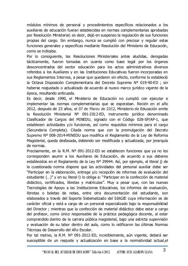 """""""MANUAL DEL AUXILIAR DE EDUCACION"""" Edición I-2015 AUTOR: LUIS ALARCON LLANA 3 módulos mínimos de personal y procedimientos..."""