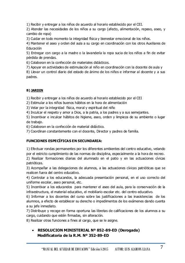 """""""MANUAL DEL AUXILIAR DE EDUCACION"""" Edición I-2015 AUTOR: LUIS ALARCON LLANA 7 1) Recibir y entregar a los niños de acuerdo..."""