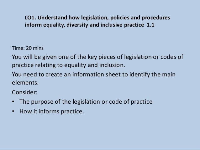 key legislation relating to diversity