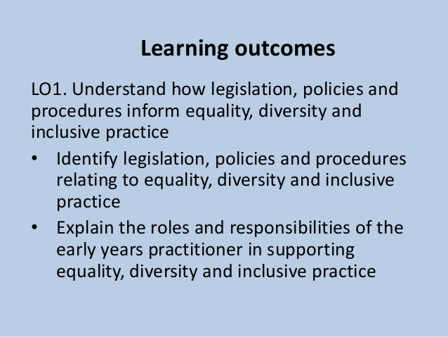 understand diversity equality and inclusion in Equality & diversity aim to introduce equality & diversity and how it can affect  the workplace objectives – by the end of the session the group will: understand.