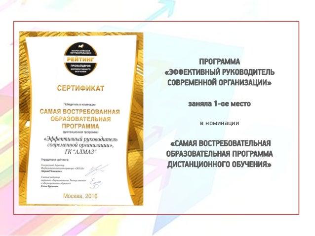 ПРОГРАММА «ЭФФЕКТИВНЫЙ РУКОВОДИТЕЛЬ СОВРЕМЕННОЙ ОРГАНИЗАЦИИ» заняла 1-ое место в номинации «САМАЯ ВОСТРЕБОВАТЕЛЬНАЯ ОБРАЗО...