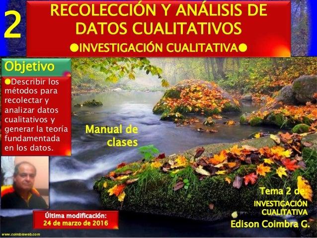 2 1www.coimbraweb.com Edison Coimbra G. Manual de clases Describir los métodos para recolectar y analizar datos cualitati...