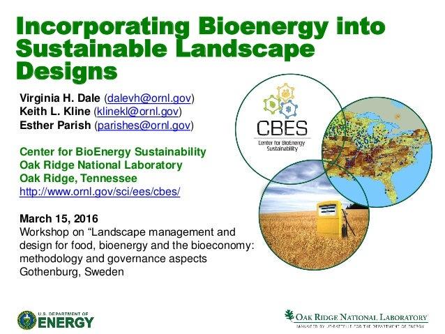 Incorporating Bioenergy into Sustainable Landscape Designs Virginia H. Dale  (dalevh@ornl.gov ... - Virginia Dale - Incorporating Bioenergy Into Sustainable Landscape De…