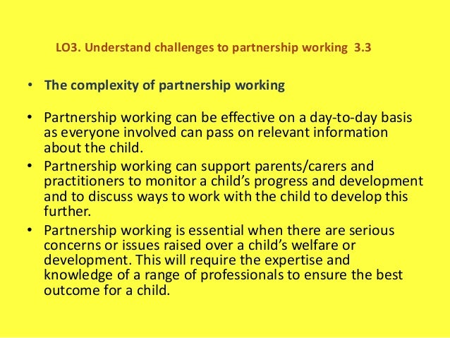 evaluate the complexity of partnership working