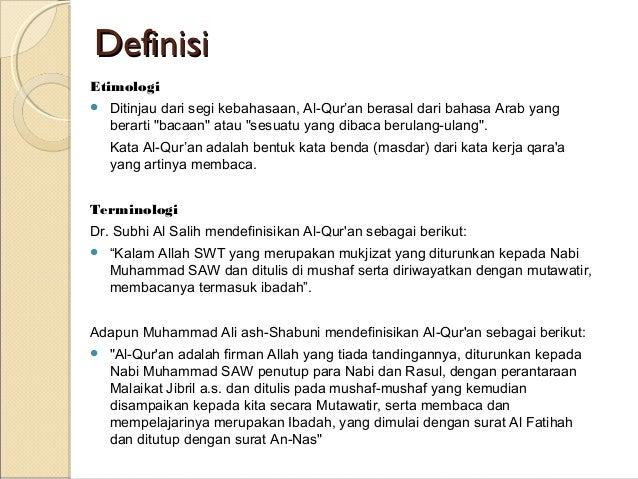 Al Qur An Definisi Dan Sejarah