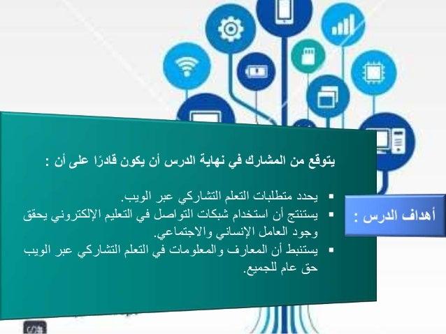 أن على اًقادر يكون أن الدرس نهاية في المشارك من يتوقع: الويب عبر التشاركي التعلم متطلبات...