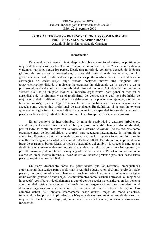 """XIII Congreso de UECOE """"Educar: Innovar para la transformación social"""" Gijón 22-24 octubre 2008 OTRA ALTERNATIVA DE INNOVA..."""