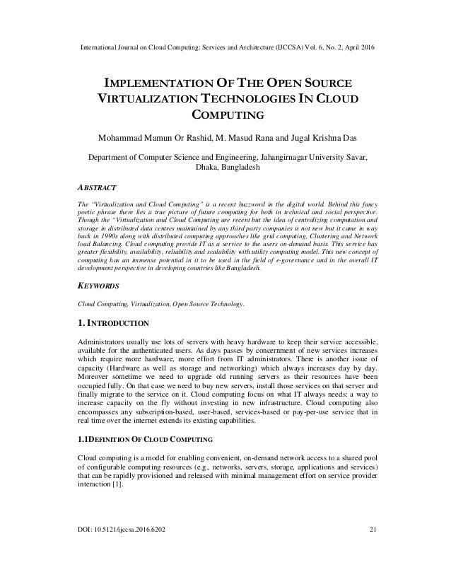 International Journal on Cloud Computing: Services and Architecture (IJCCSA) Vol. 6, No. 2, April 2016 DOI: 10.5121/ijccsa...