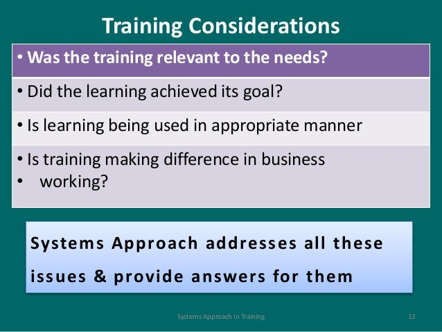 Systems approach to training