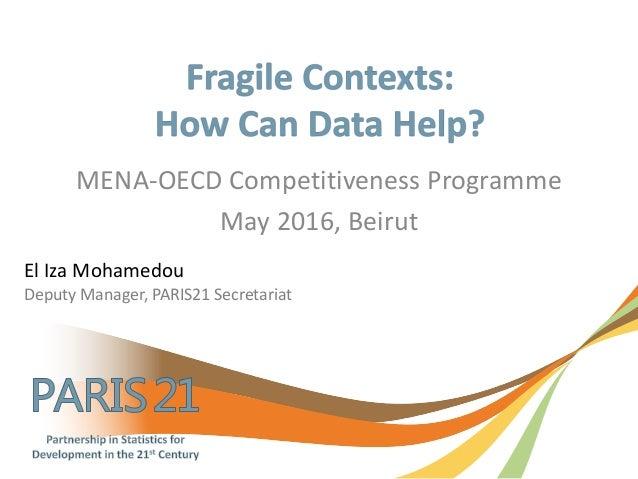 MENA-OECD Competitiveness Programme May 2016, Beirut El Iza Mohamedou Deputy Manager, PARIS21 Secretariat