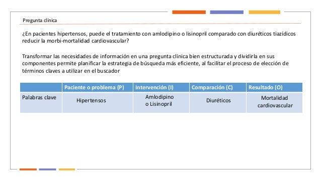 Pregunta clínica ¿En pacientes hipertensos, puede el tratamiento con amlodipino o lisinopril comparado con diuréticos tiaz...