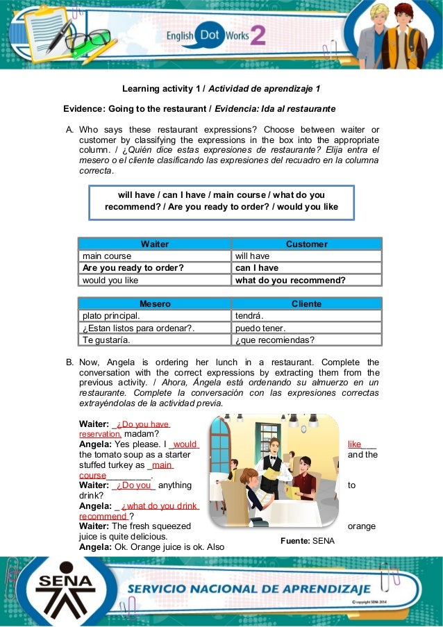 Learning activity 1 / Actividad de aprendizaje 1 Evidence: Going to the restaurant / Evidencia: Ida al restaurante A. Who ...