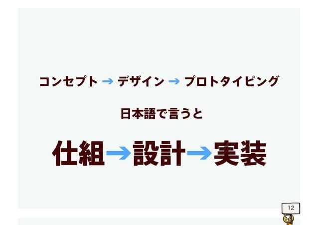 12 コンセプト → デザイン → プロトタイピング 仕組→設計→実装 日本語で言うと
