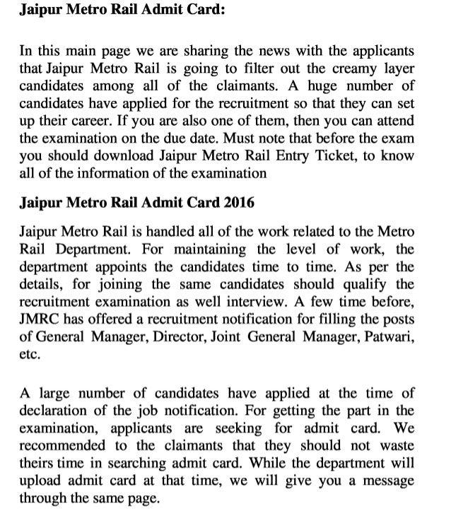 Jaipur Metro Rail Admit Card 2016 Manager & Director Job Hall Ticket…